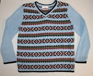 Hanna Andersson Boys Nordic Sweater Light Blue Size 120cm 5-6 EUC