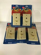 5 Wall Plate F81 Connector and Phone Jack RJ11 Coaxial Combo Ivory