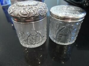 Small Crystal Vanity Jar with Sterling Silver Top X 2