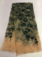 """Green Gold Stretch Sequins Embroidery Lace Fabric 50"""" Width Sold By The Yard"""
