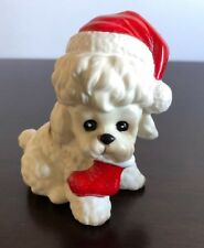 Vintage Josef Original Poodle With Christmas Stocking w/Original Sticker