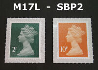 NEW DEC 2017 M17L 2p and 10p Machin SBP2 SINGLE STAMPS from Counter Sheets