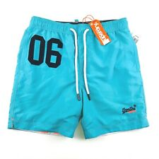 09eb3cca1d Superdry Water Polo Swim Trunks Men's Small Teal Blue Drawstring Pockets  A63-04
