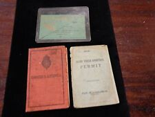 "Vintage Ephemera lot Drivers ""Licence"" 1936-1937 Permit 1943 & Dance Card 1940"