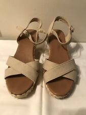 Ladies Dunnes Beige Wedge Sandals Size 6.5
