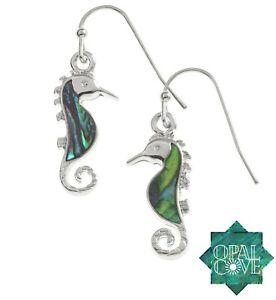 Sea Horse Earrings Silver Fashion Jewellery Paua Abalone Shell Pendant
