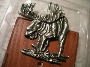 MOOSE FIGURINE DECORATIVE UNUSUAL ELECT LIGHT SWITCH COVER WOOD WITH METAL NEW