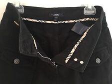BURBERRY BLACK FRONT BUTTON POCKET PANTS: Sz 4 USA, Authentic, Preown, Orig $350