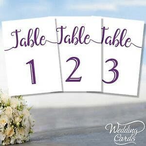 1 x Table Numbers Names Plan Place Cards Personalised Wedding Party ANY COLOUR