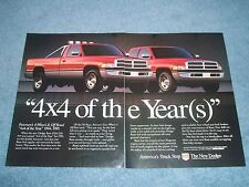 "1995 Dodge Ram Pickup Vintage 2pg Ad ""4x4 of the Year(s)"""