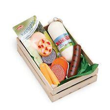 Sortiment Wurst: Salami,Aufschnitt..in Obstkiste(Holz) für Kaufladen, Erzi 28140