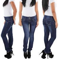 SOTALA Damen Röhrenjeans Stretch Hüft Röhren Jeans Hose Skinny Slim Fit Blau
