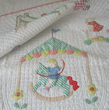 "Antique c1940s HandMade Appliqued 60""X45"" Child BABY QUILT Children PLAYING 8SPI"