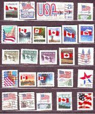Lotto D50d Canadà e Usa 26 BANDIERE flags differenti Usato Used Lot