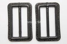 2 x 50mm BLACK COAT JACKET BELT COATED BUCKLES MENS WOMENS CRAFT WINTER UK 469