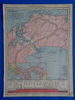 Vintage 1915 PANAMA CANAL - ZONE  Map ~ Old Antique Original Atlas Map 101518