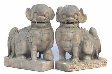 Pair of Large Antique Chinese Wood Carved Statue Foo Dog, Ming or Qing Dynasty