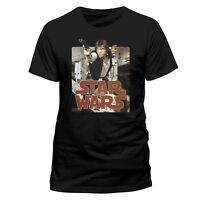 Official Star Wars Han Solo Retro Badge T-shirt Black S M L XL XXL