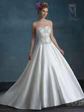 MARY'S BRIDAL #6555 IVORY SATIN WEDDING GOWN A-LINE BEADED SIZE 20