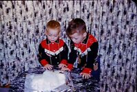 Vintage Old 1960 Photo Slide of Little Boys in Cowboy Outfits Looking at Cake