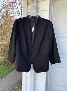 Warm Weather Workhorse! NWT Talbots Pretty Black Linen Lined Blazer 22W 3X
