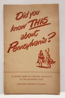 Did You Know This About Pennsylvania? PA Dept Of Commerce Booklet 1950's