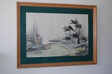"Original Large Genevieve ""Gen"" Matucha Finger Painting In Framed With Glass"