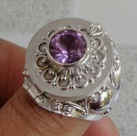 Size 8 (US) Gemstone Solid Silver, 925 Balinese Poison Ring 32877