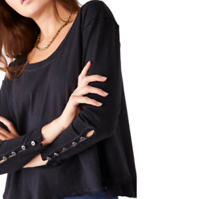 Free People Peony Button Long Sleeve Top T-shirt Blouse S NWT