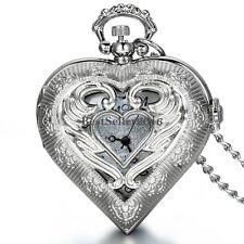 Angel Wing Hollow Heart-shaped Quartz Half Hunter Pocket Watch Necklace Pendant