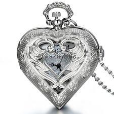 Angel Wing Hollow Heart-shaped Quartz Half Hunter Pocket Watch Necklace Pendant