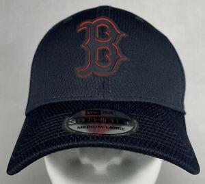 New Era MLB Boston Red Sox Navy Clubhouse 39THIRTY Rubber Logo Flex Hat, M/L
