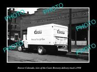 OLD LARGE HISTORIC PHOTO OF DENVER COLORADO, THE COORS BREWERY TRUCK c1950 2