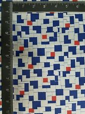 "3Yards/45""USA VTG Apparel Lining ""PUZZLE"" PRINTED ACETATE FABRIC-Blue/Gry/Orange"