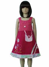 Algodón Chica Fiesta Vestido en Fucsia,Rojo,Verde,Blanco,Azul de 9M hasta 3 Años