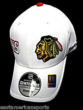 Chicago Blackhawks NHL Reebok Center Ice White Hat Cap Pro Shape Flex Fit L/XL
