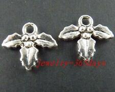 100pcs Tibetan Silver 2Sides Holly Fruit Charms 12.5x14x2mm 10826