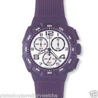 Swatch Watch SUIV400 Unisex Purple Funk Chrono New Original