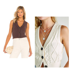 Free People Denson Cable Knit Sweater Vest Cardigan Size Small RRP £64 Free P&P
