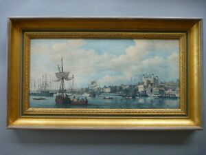 Vintage 'View of London' Framed Picture - Samuel Scott - Tall Ships Thames Tower