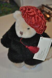 Plush Stuffed Animal Russ Berrie Sasha Teddy Bear 7 in Faux Fur Beanie Hat Stand