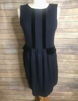 Marc Jacobs Sz L Navy Blue Black Sleeveless Shift Dress Velvet Trim Wool Blend