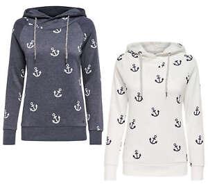 ONLY Damen Sweatshirt Pullover onlLISA NEW ANCHOR SWEAT Anker Hoodie Kapuze NEU