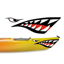 2 X Shark Teeth Mouth Vinyl Decal Stickers for Kayak Canoe Dinghy Ocean Boat
