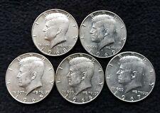 More details for 1965-1969 jfk half dollar 5x silver coins lot 3