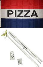 3x5 Advertising Pizza Red White Blue Flag White Pole Kit Set 3'x5'