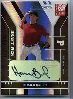 2004 Homer Bailey Donruss Elite Extra Edition Autographed Rookie Card Cincinnati