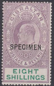 Gibraltar Edward VII 1911 Mint Mounted 8/- Purple & Green SG74 SPECIMEN