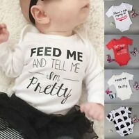Newborn Kids Baby Boys Girls Infant Casual Romper Bodysuit Playsuit Outfit 0-18M