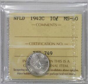 NEWFOUNDLAND 10 CENTS 1942-C SILVER (ICCS MINT STATE 60) *PREMIUM QUALITY*